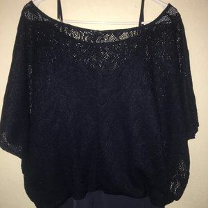 Tops - Dark Blue Tank with Lace Overlay Womens 1X Blouse